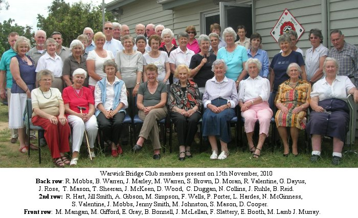 Warwick Bridge Club members 2011